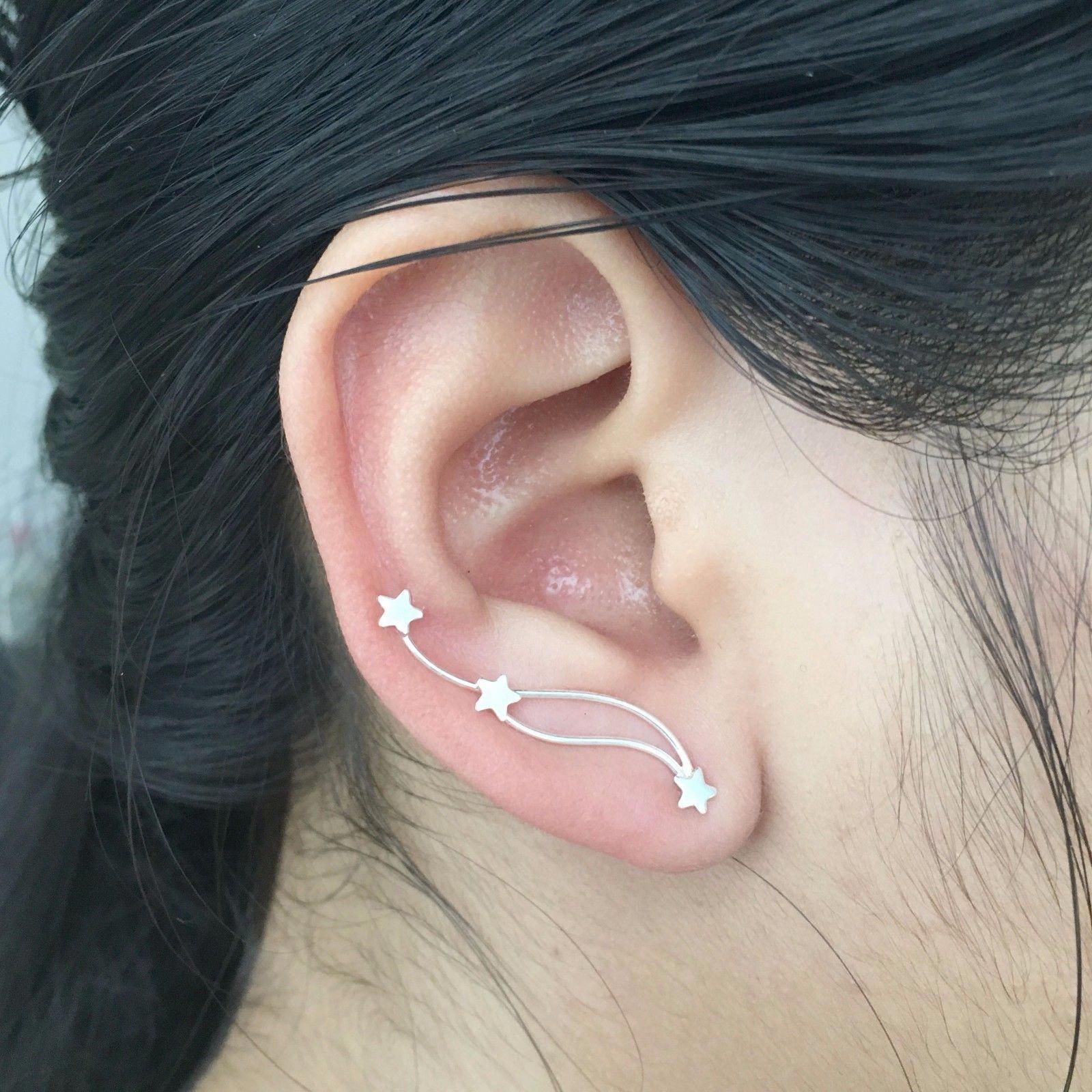 72411a1e0a76 Real 925 Sterling Silver Crawler Ear Climber 3 Stars Cuff Ear Sweep Pin  Earrings  sterlingsilverearrings