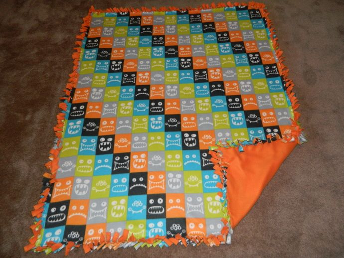 blocked monster faces blizzard fleece anti pill no sew fleece