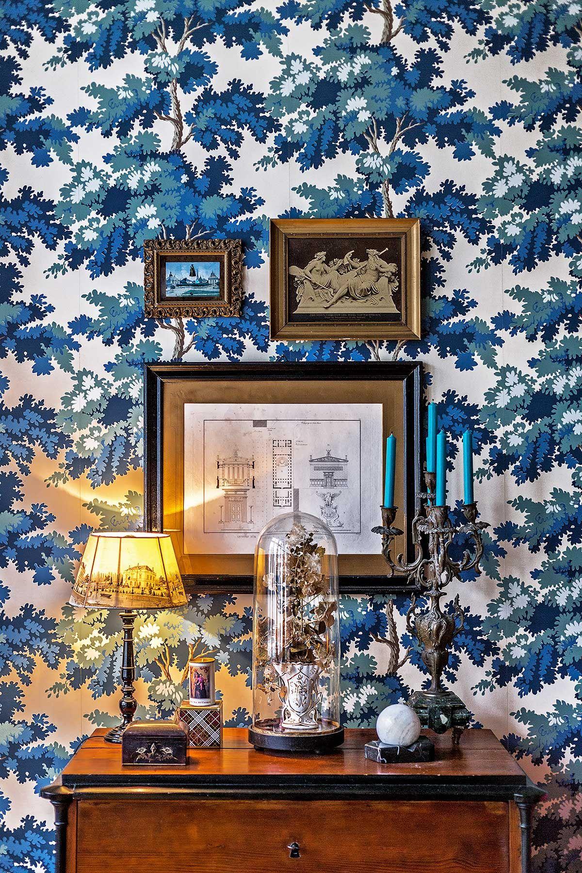 Vignette against tapestry-inspired wallpaper