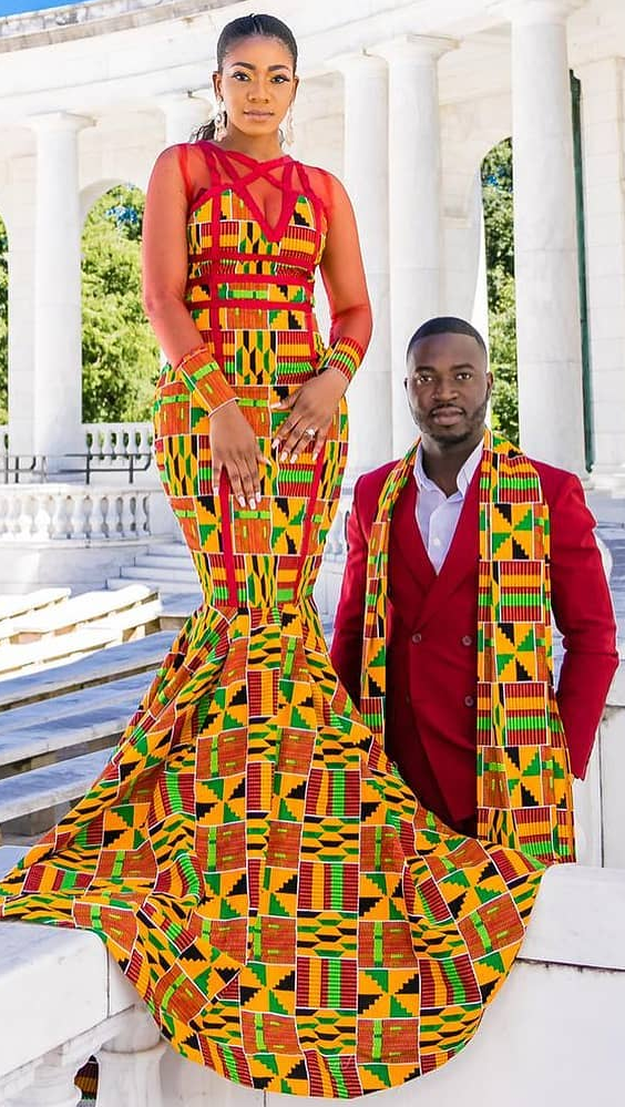 3fb2fb4568 traditional wedding kente bride and groom African Attire, African Outfits,  African Prom Dresses,