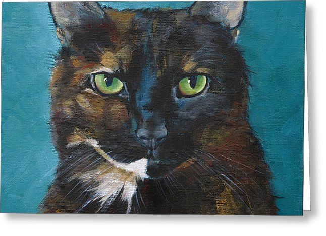 Tortoiseshell Cat Greeting Card by Julie Dalton Gourgues