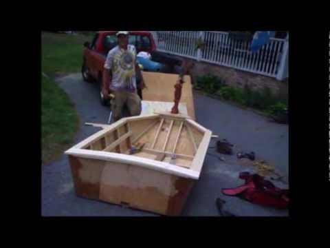 Home Made Boat 3 Sheets Of Plywood 2 Tubes Of Liquid Nails And A Gallon Of Fiberglass Plywood Sheets Liquid Nails Plywood