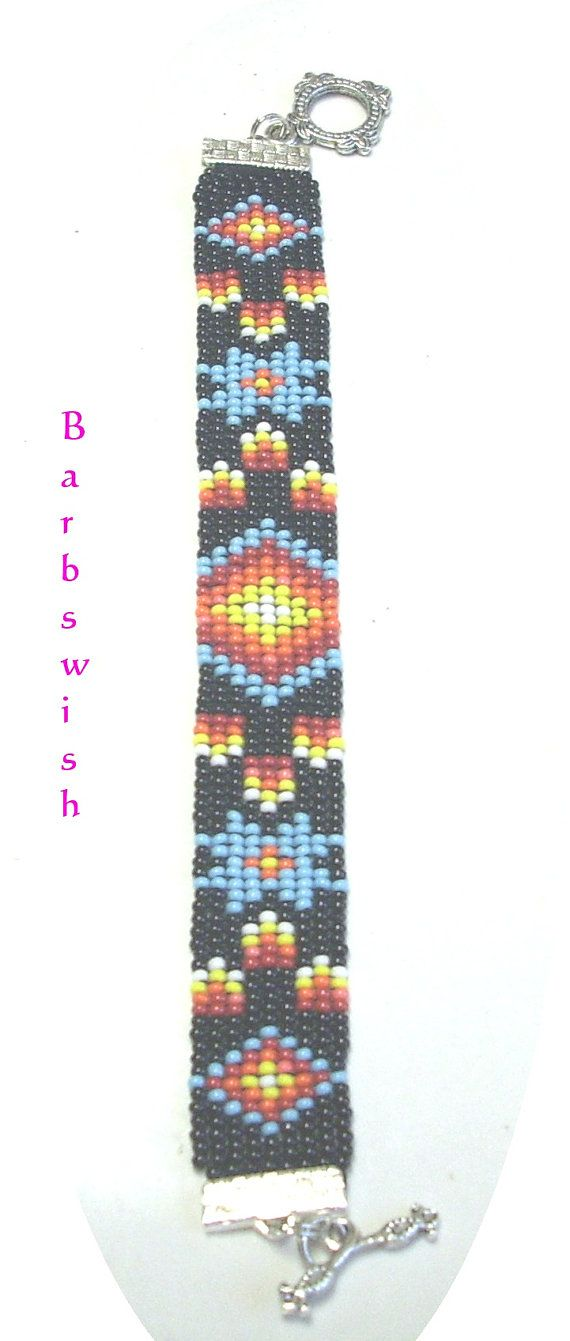 Native American Style Handwoven Seed Bead Bracelet Fire