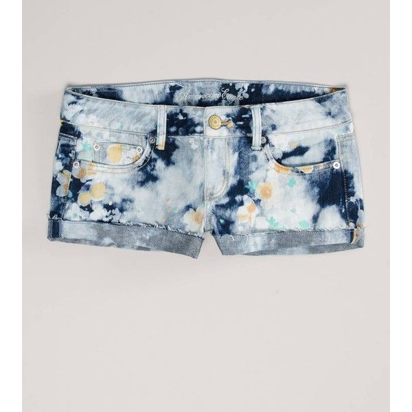 Ae Floral Denim Shortie ($40) ❤ liked on Polyvore