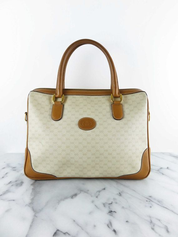 76f7401ed Vintage GUCCI Top Handle Satchel Tote Bag Mini Duffle Cream Tan ...