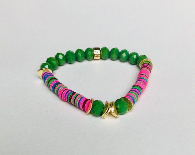 Green Gemstone Gold Wavy Discs And Multi Color Disc