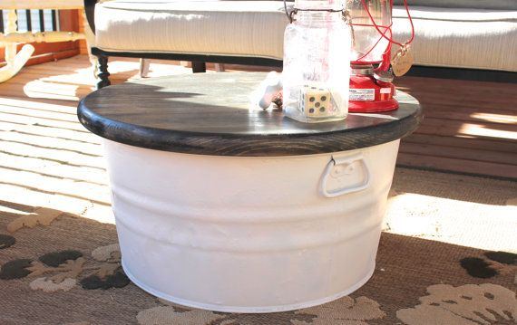 Galvanized Wash Tub With Wood Top Table On Etsy 65 00