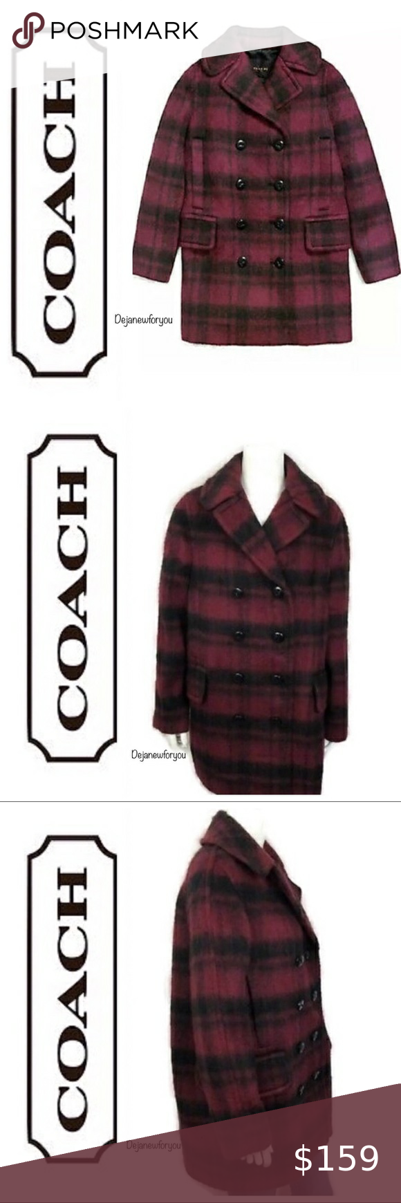 Coach Plaid Cranberry Wool Pea Coat