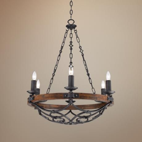 Madera 28 1 4 Wide Black Iron Hand Forged Chandelier In