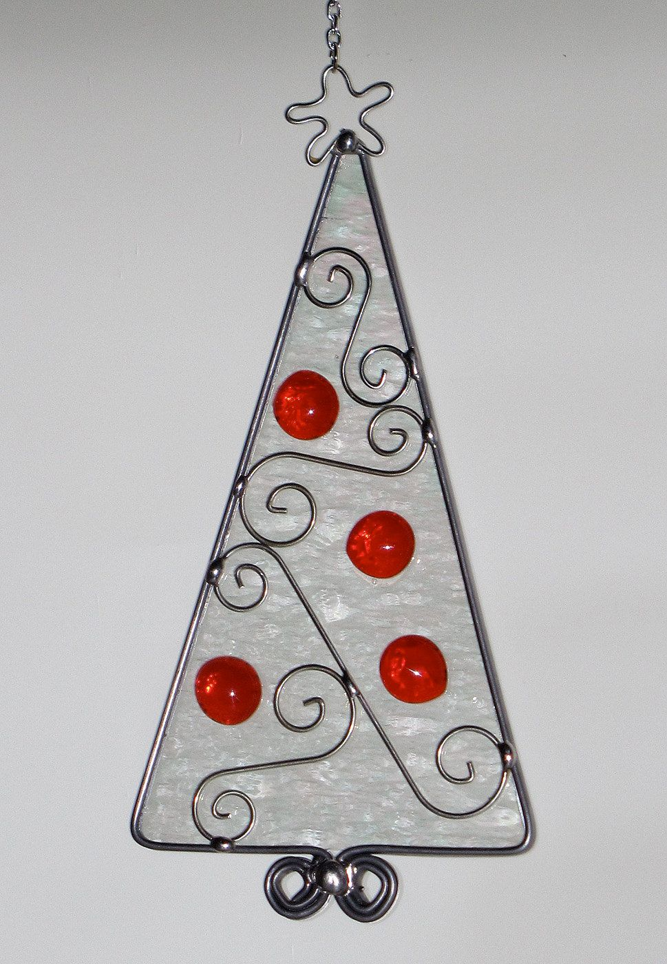 stained glass suncatcher iridescent christmas tree with red jewel decorations ornament wire scroll 2400 via etsy