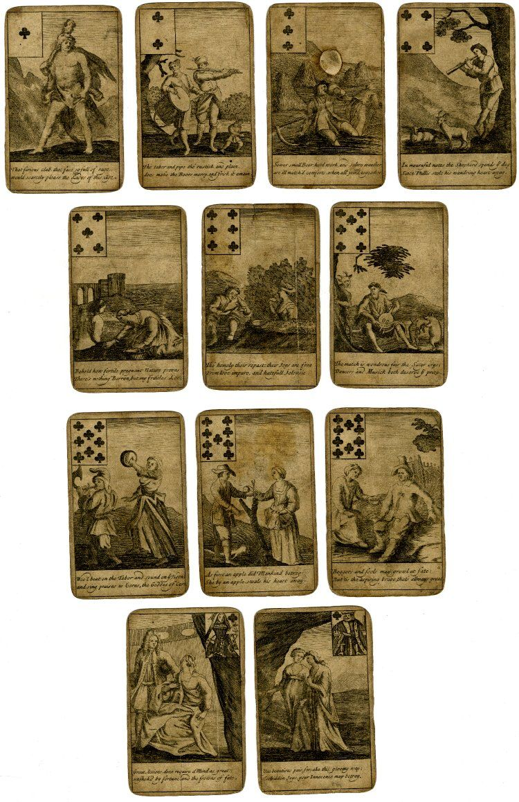 Incomplete pack of 49 playing cards with illustrations on the theme of love, accompanied by verse below; suitmark and value in one of the upper corners; lacking the 5 and king of diamonds and the knave of clubs; plain backs. c. 1700 Engraving
