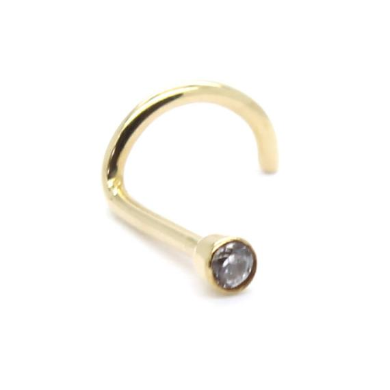 14k Solid Yellow Gold 20g X 7 5mm Nose Screw Nose Ring Nose Stud Nose Bone With 2mm Bezel Cz Piercing Type Nose Material Nose Ring Sizes Nose Stud Nose Ring
