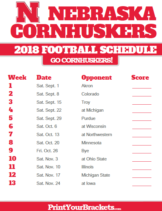 Ohio State Schedule 2018 2019 >> 2018 Printable Nebraska Cornhuskers Football Schedule | Printable College Football Schedules ...