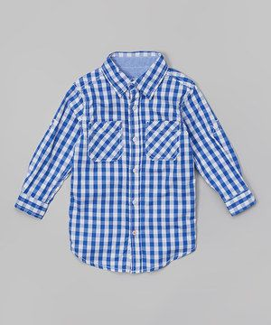 Royal Large Gingham Button-Up - Toddler by Weatherproof #zulily #zulilyfinds