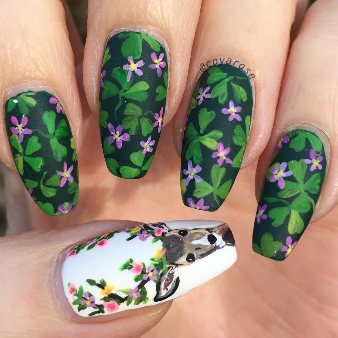 Spring clover deer antler nails nail art | Nail Art by @coyarose ...