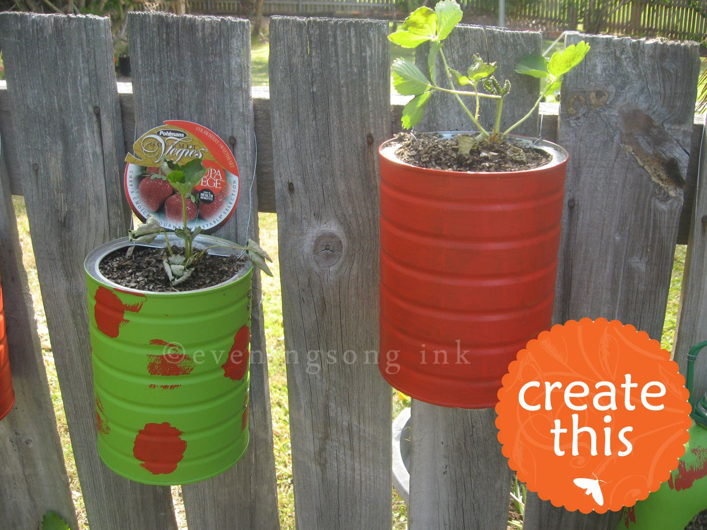 Old coffee cans turned planters and hung on a boring fence  Yes please. Old coffee cans turned planters and hung on a boring fence  Yes