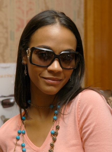 Zoe Saldana wearing Gucci 2562S Sunglasses during Solstice Sunglass Boutique at the Lucky/Cargo Club