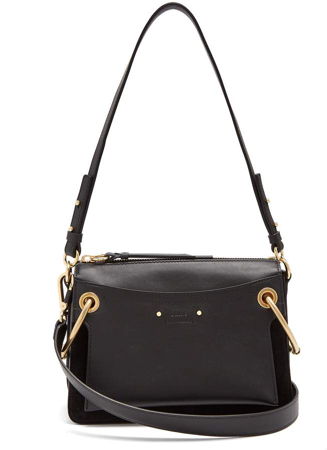 2b24f8f11c2e Chloé Roy small suede and leather shoulder bag