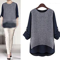 Camisas Casuales ( Algodón )- Casual Redondo Manga Larga par... – USD $ 13.99