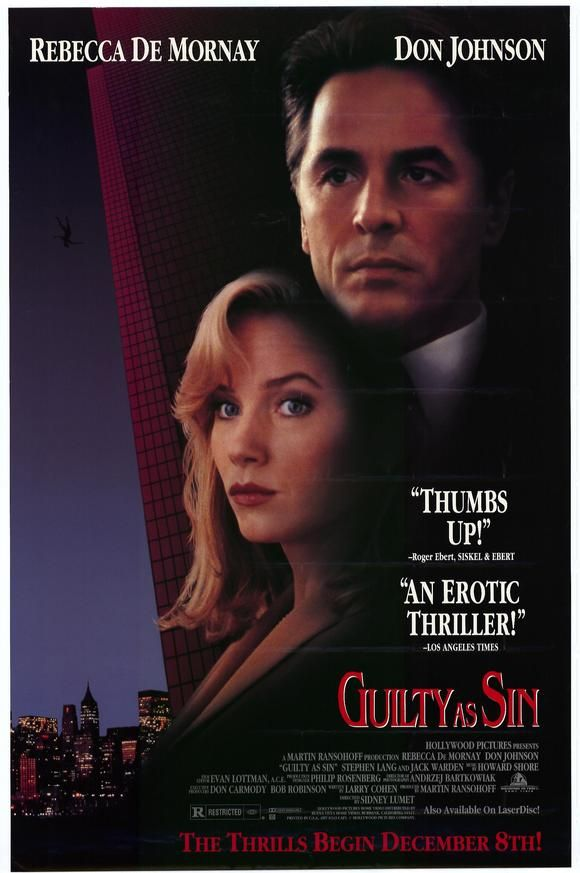Guilty As Sin Starring Rebecca De Mornay Don Johnson Stephen