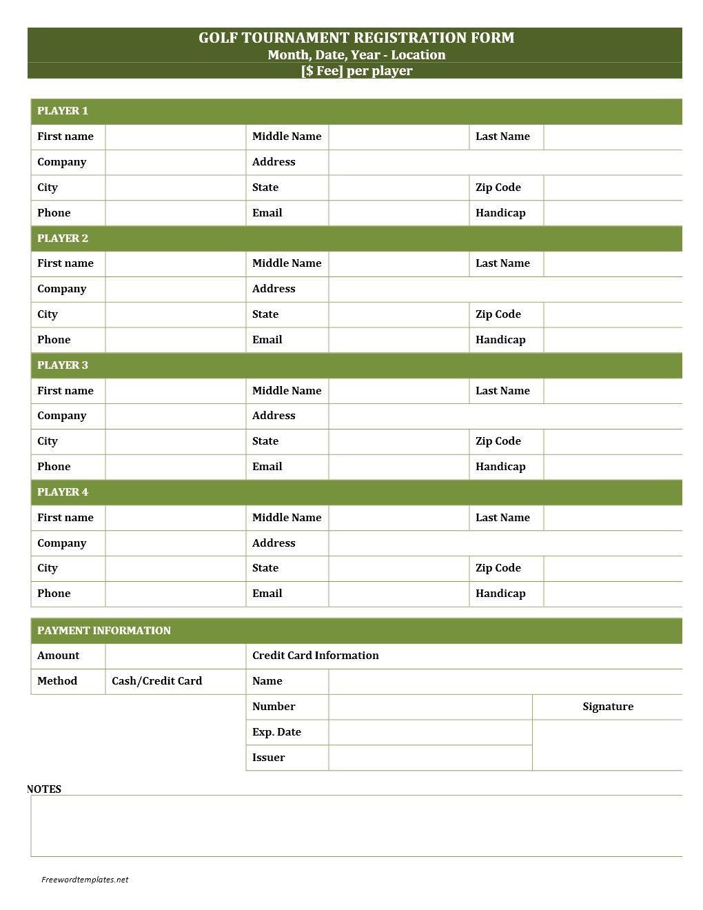 golf tournament registration form template jpg 1020 1320 golf