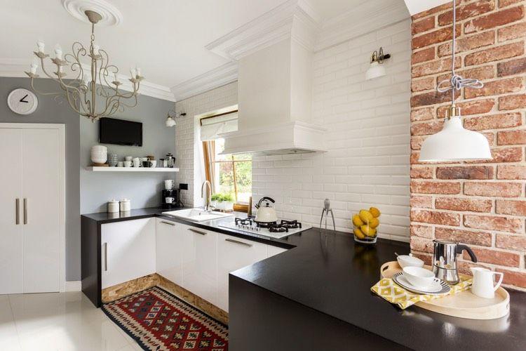 La cuisine avec la brique est à nouveau tendance Brique rouge - Photo Cuisine Rouge Et Grise