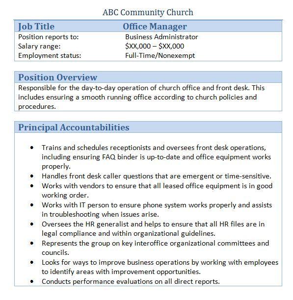 church office manager job description - Church Administrator Salary
