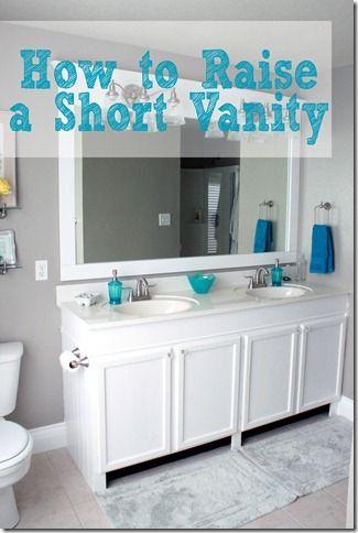 Remodelaholic How To Raise Up A Short Vanity Diy Bathroom Bathrooms Remodel Bathroom Addition