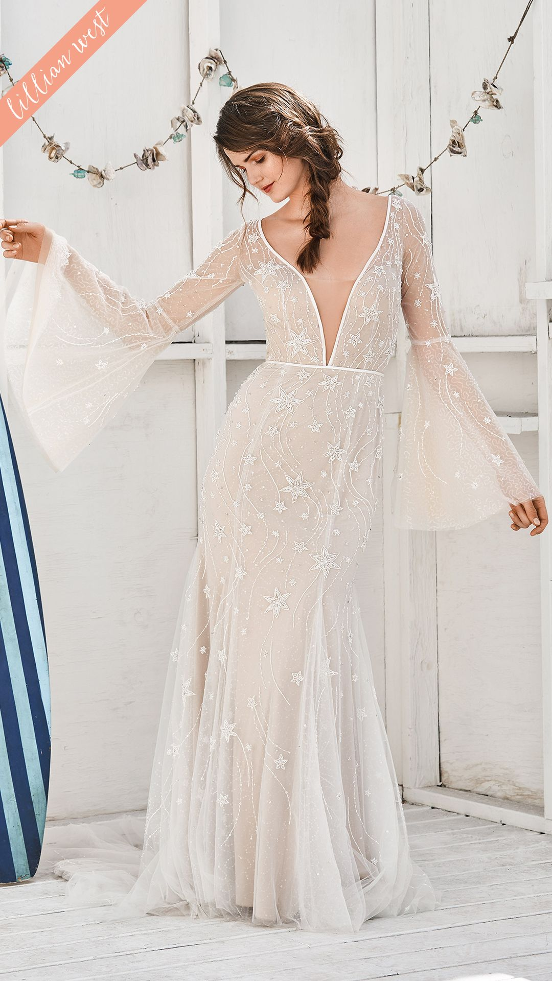Style 66057 Shooting Star Beaded Bell Sleeve Dress Sheer Wedding Dress Lillian West Wedding Dress Dresses