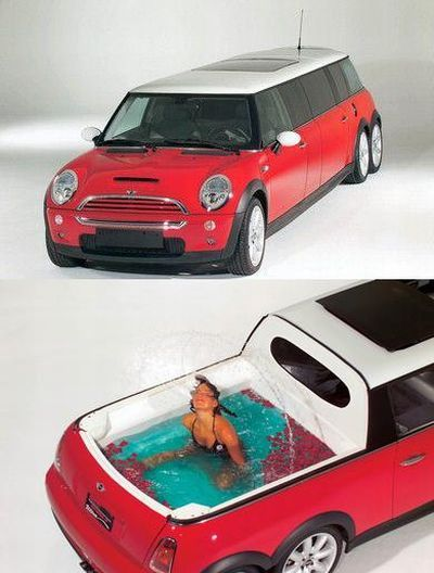 Mini Cooper Limo With A Hot Tub In The Back We Need This For