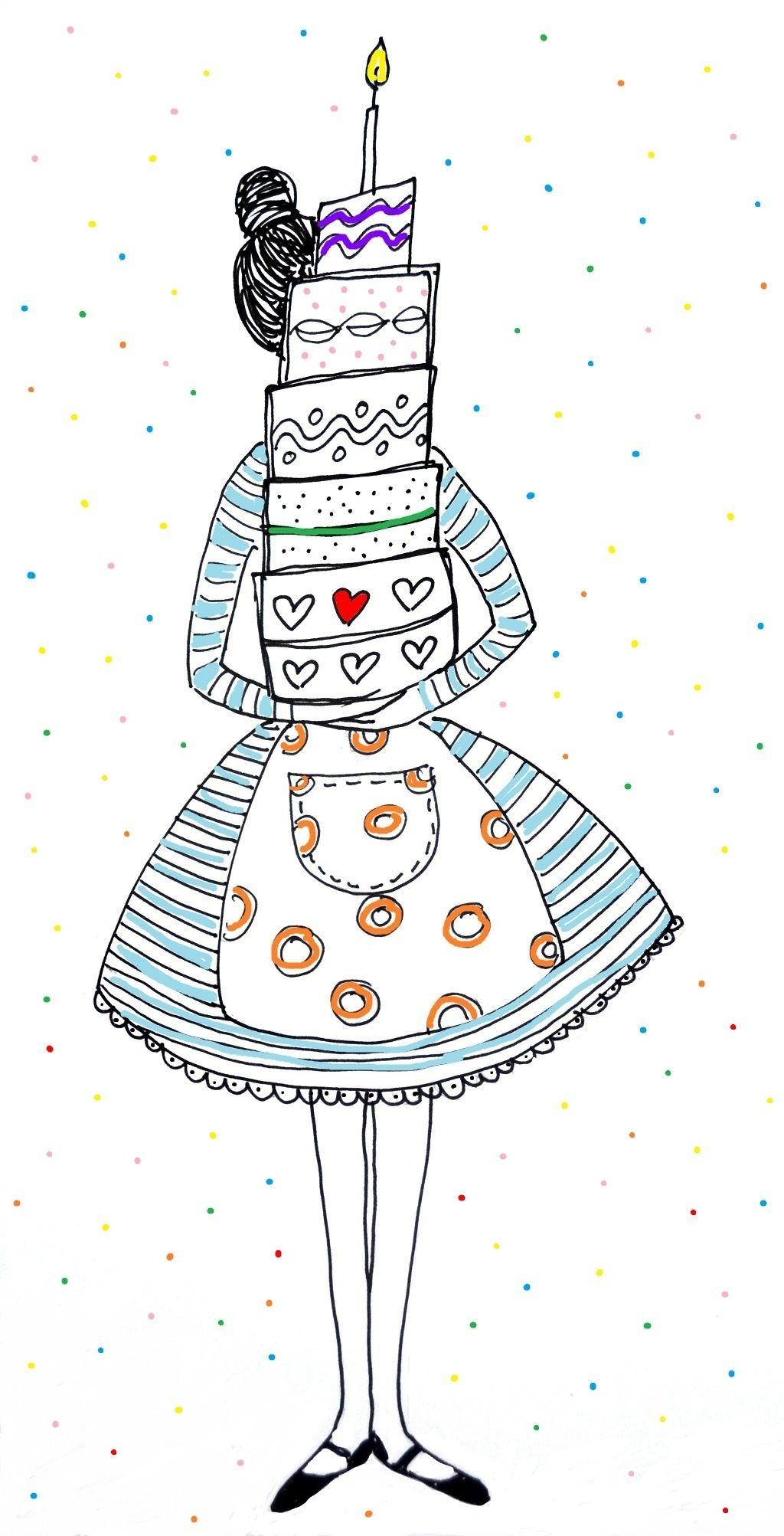 Happy Birthday Girl Illustration ~ Girl with birthday cake illustration my soul pinterest illustrations
