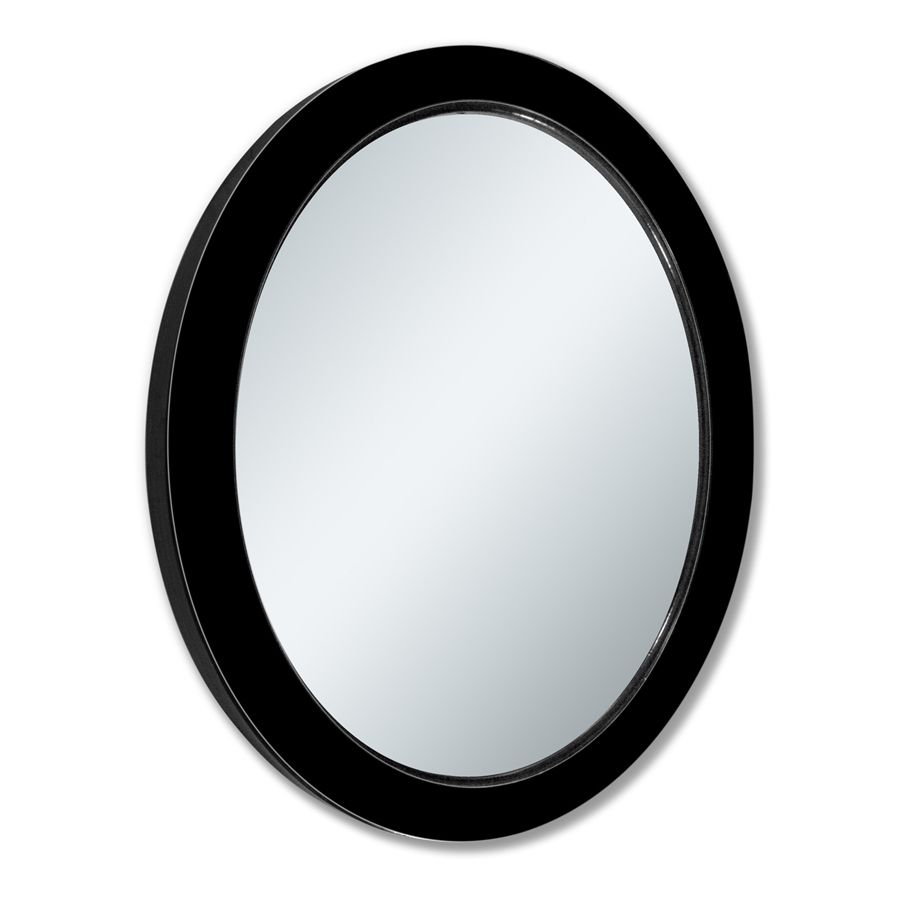Shop Allen Roth 24 In X 30 In Black Oval Framed Wall Mirror At