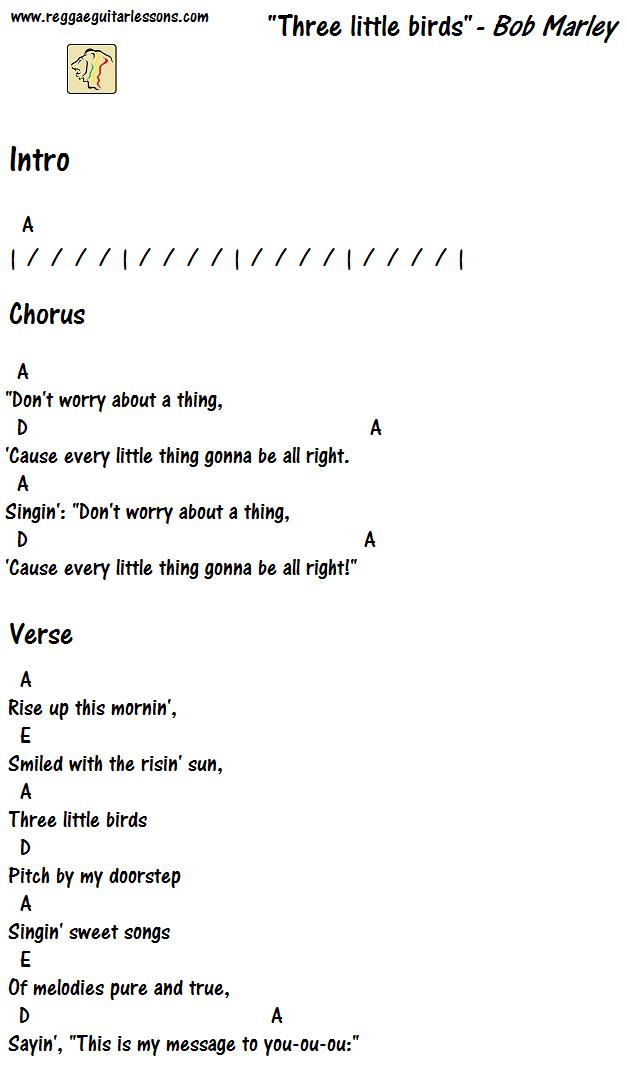 Three little birds chords | Guitar Chord Charts | Pinterest | Third ...