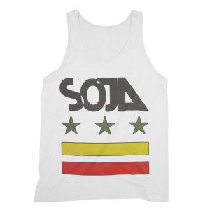 White American Apparel Tank Featuring Red Yellow And Green Stars And Bars Design On Front And Lyrics From Quot R American Apparel Tank American Apparel Tank
