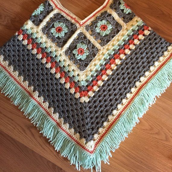 Items similar to Girls Flower Poncho-Kids-Fall Fashion-Crochet Granny Square-Fringe-Ages 5-8 on Etsy