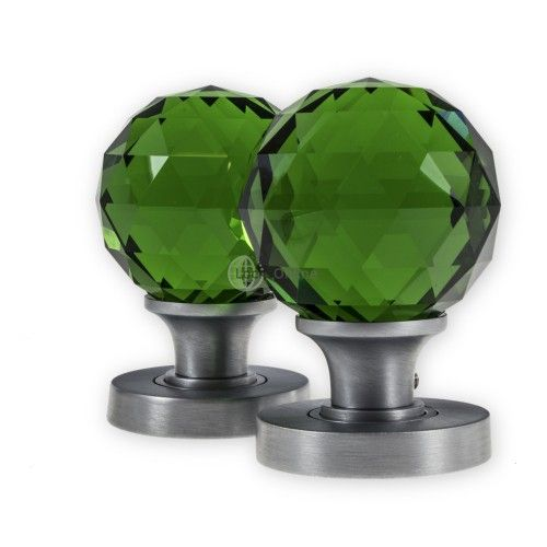 LocksOnline Glass Faceted Mortice Door Knob Set - Green These ...