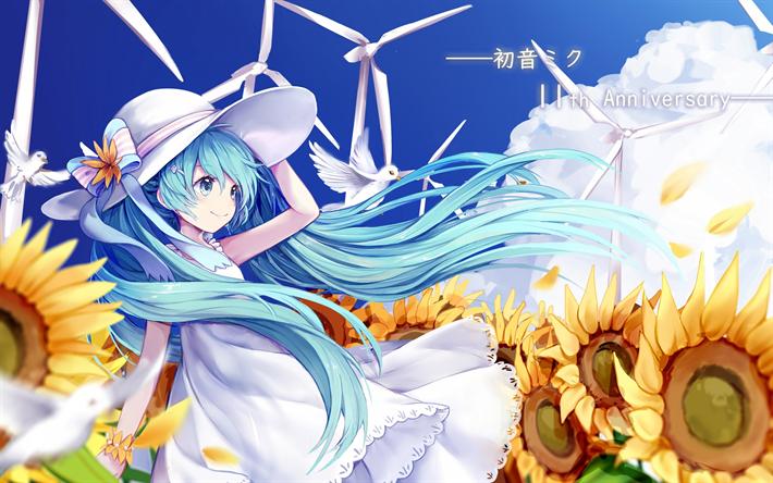 Download Wallpapers Hatsune Miku Vocaloid Art Sunflowers Flowers Long Blue Hair Characters Besthqwallpapers Com Hatsune Miku Anime Wallpaper Anime