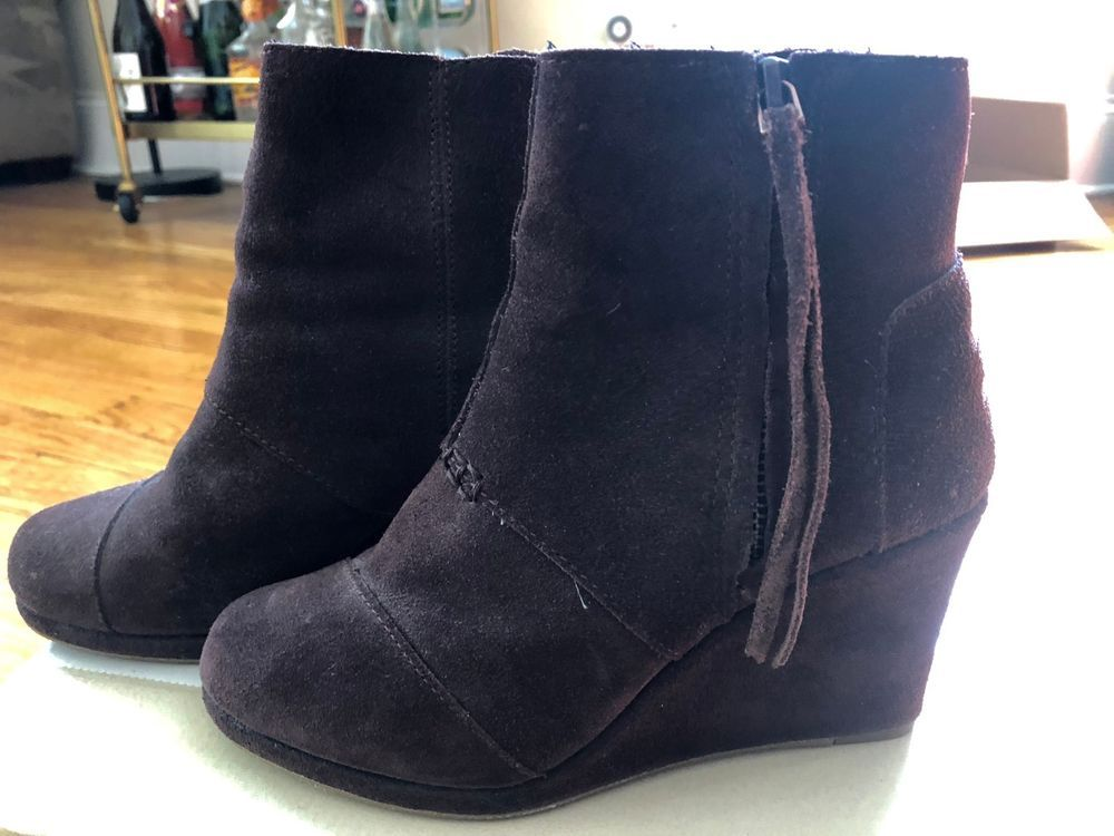 72e724469cfb TOMS DARK BROWN SUEDE LEATHER BOOTIES DESERT WEDGE ANKLE BOOTS WOMEN S SIZE  5  fashion  clothing  shoes  accessories  womensshoes  boots (ebay link)