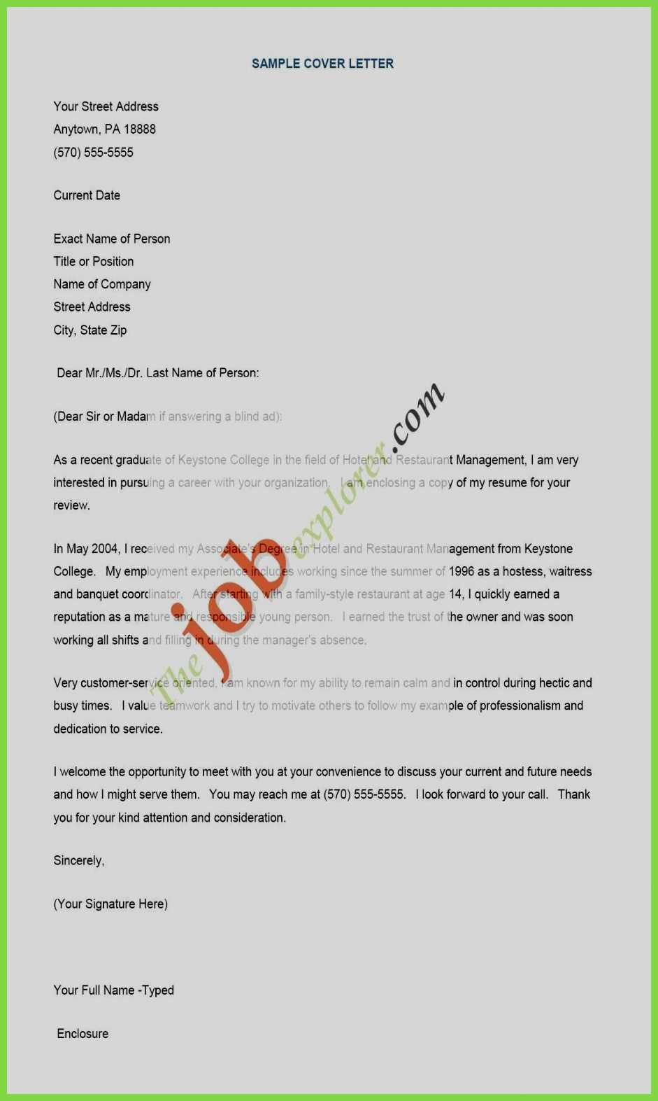 Waitressing Cover Letter 70 Cool Gallery Of Hotel Waitress Resume Examples Resume