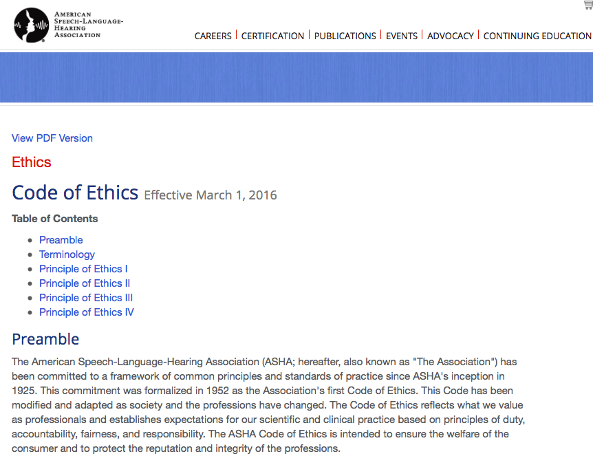 ASHA code of Ethics Speech and language, Ethics, Code of