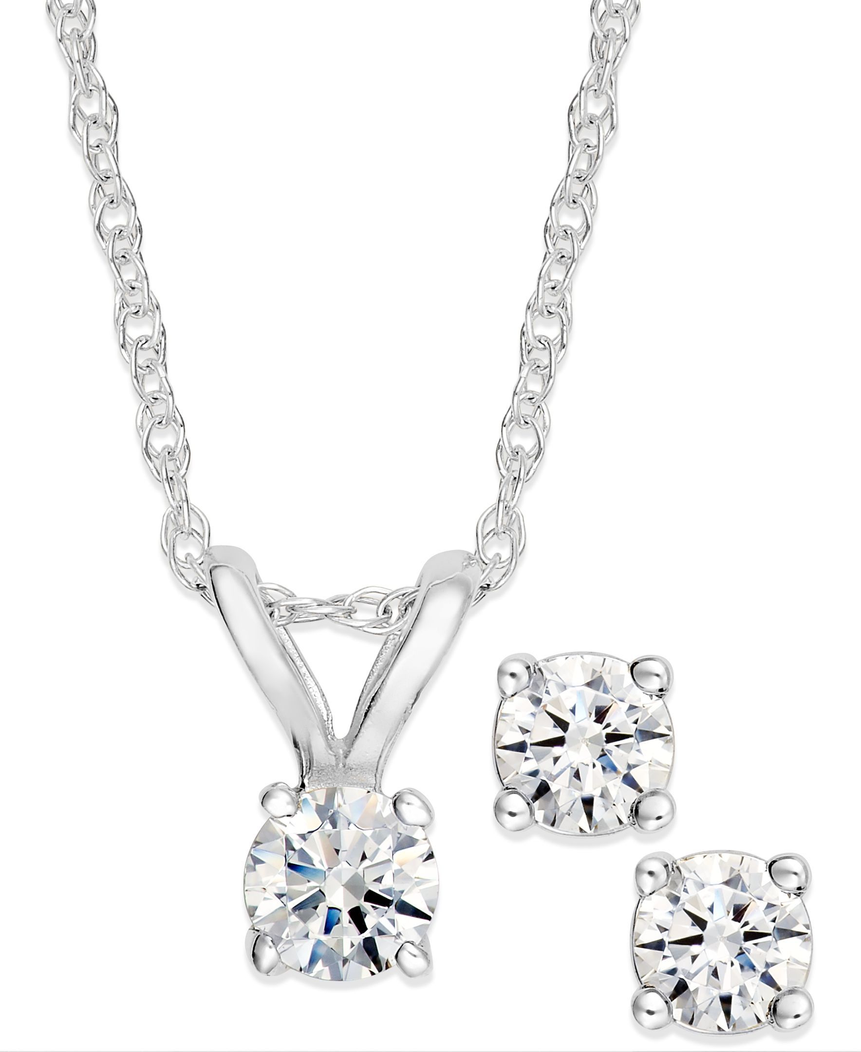 Diamond Pendant Necklace and Earrings Set in 10k White Gold (1/10 ct. t.w.)