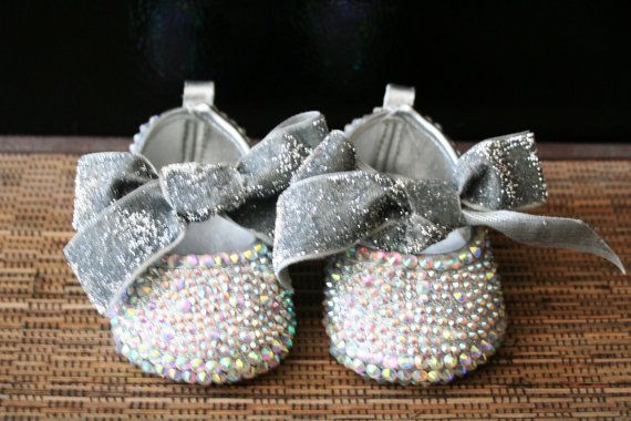 Maire Antoinette AB Swarvoski Crystals Silver, Christening, Baptism, Pageant, Birthday, Princess, Flower Girl baby shoes via Etsy
