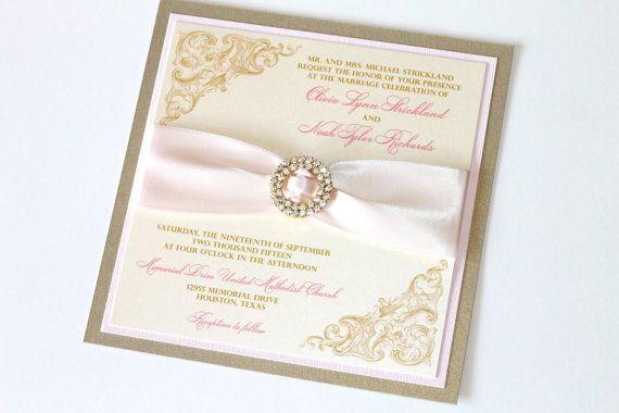 Blush And Ivory Wedding Invitations: Vintage Wedding Invitation