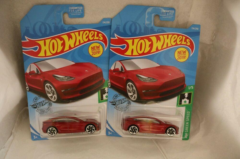 Hot Wheels Green Speed 1 5 Tesla Model 3 Candy Apple Red Fyd88 New 2019 Lot Of 2 Hotwheels Tesla In 2020 Candy Apple Red Tesla Hot Wheels