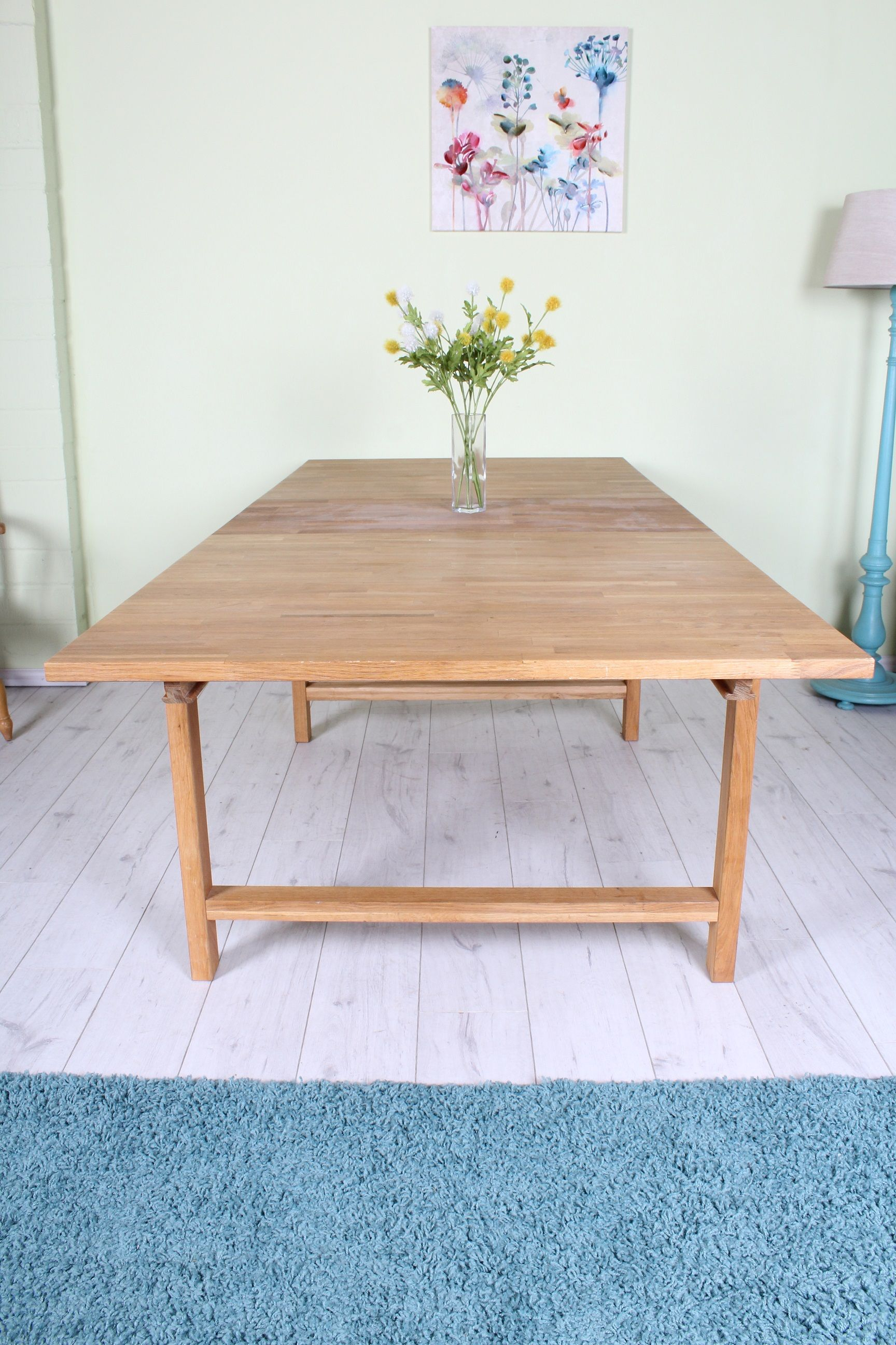 Modern Solid Beech Extendable Table 7 1 2 Foot Long Seats Up To 10 People