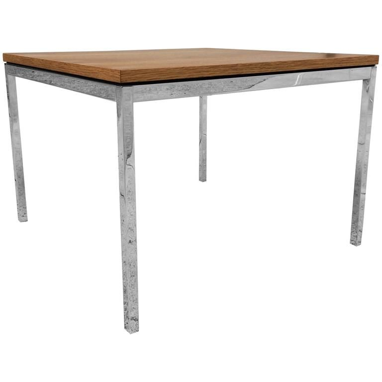 Florence Knoll Side Table Oak Top On Chrome Legs Usa 1970s