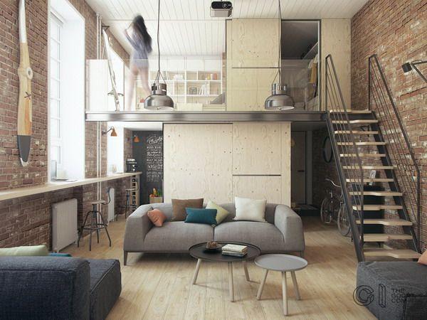 Un pequeño loft de 35 metros cuadrados Loft, Pequeño loft y - departamento de soltero moderno pequeo