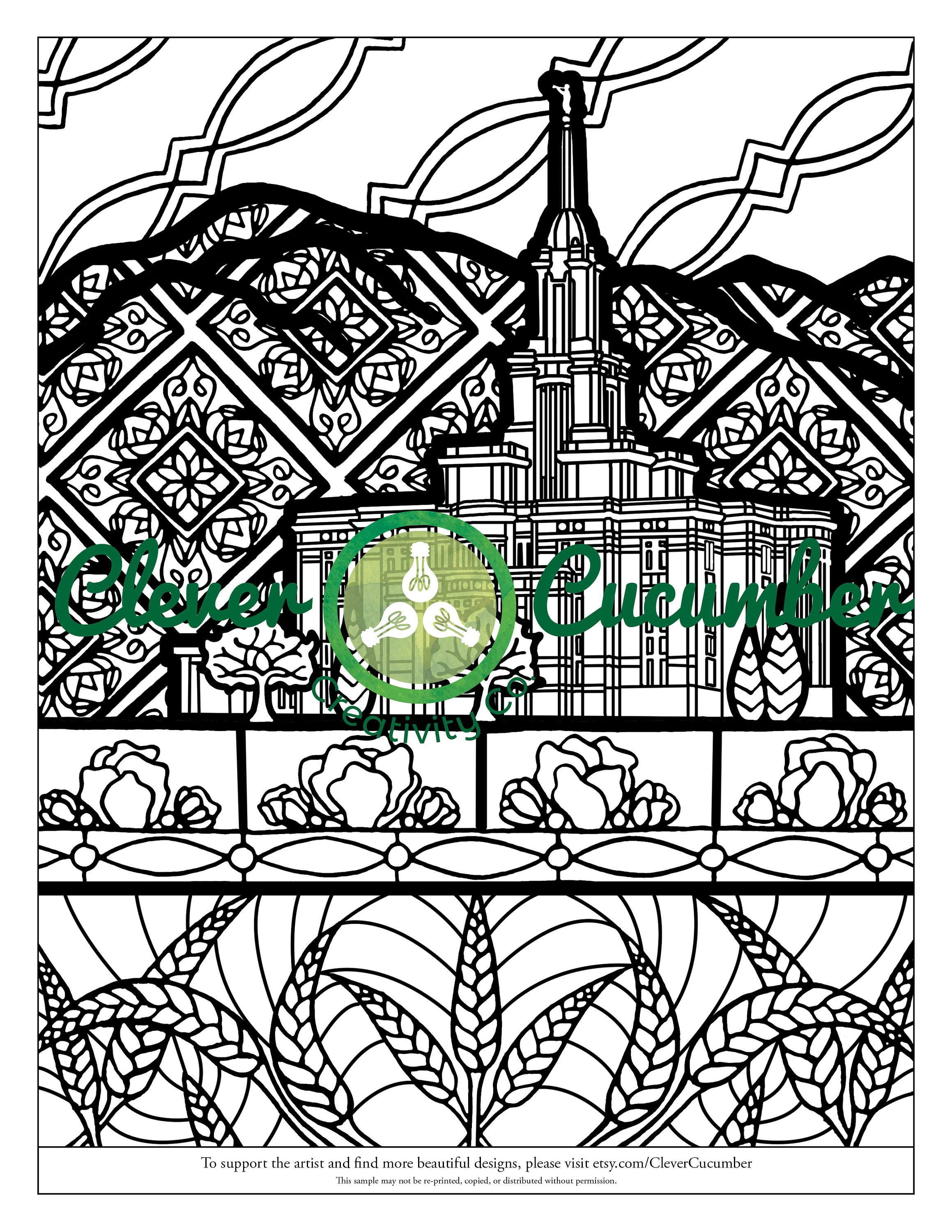 LDS Mormon Latter-Day Saint Church Temple Adult Coloring Page Payson ...