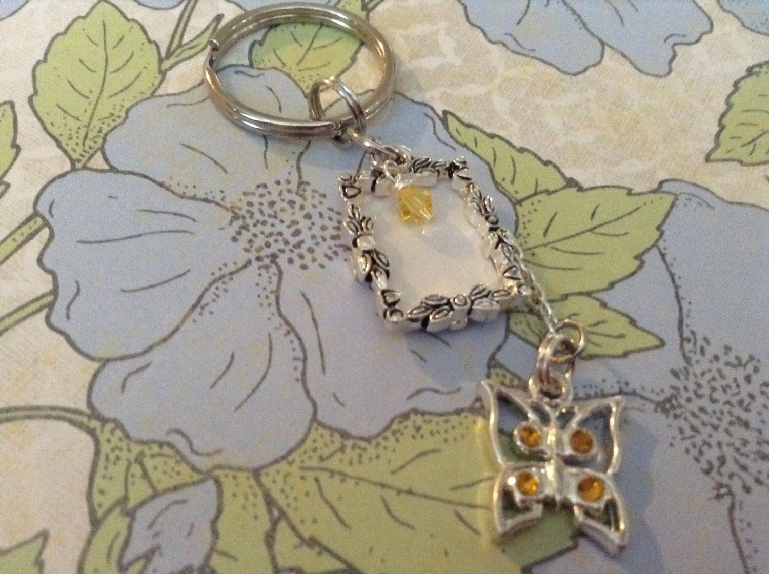 Crystal butterfly picture frame keychain with swarovski crystal crystal butterfly picture frame keychain with swarovski crystal accent jeuxipadfo Image collections