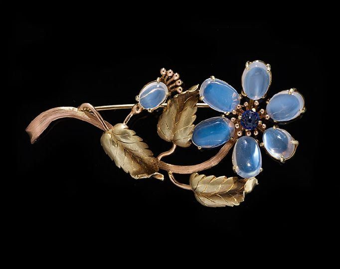 Vintage 14 Kt., Moonstone and Sapphire Brooch